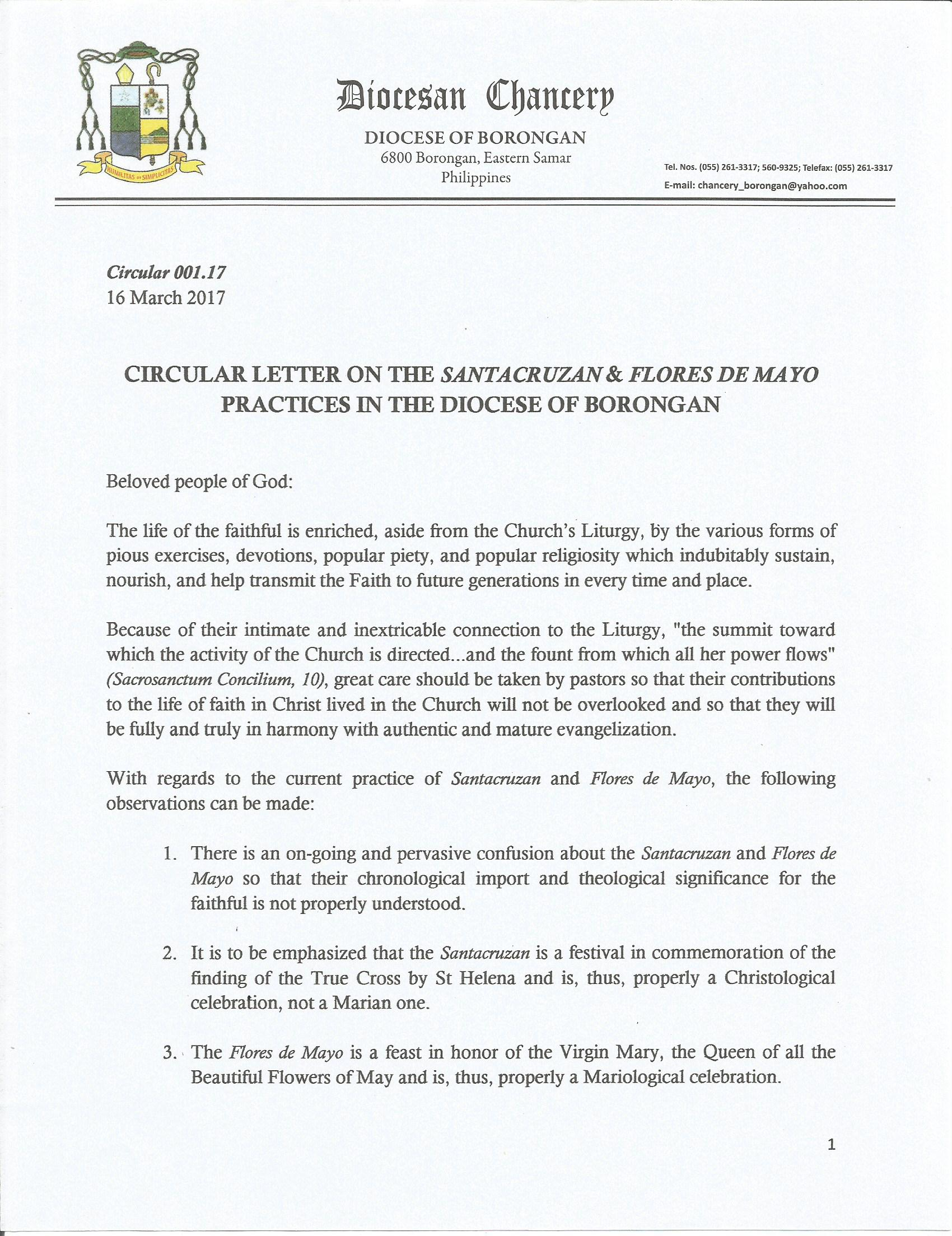 Circular letter on the santacruzan flores de mayo practices in the chancellor altavistaventures