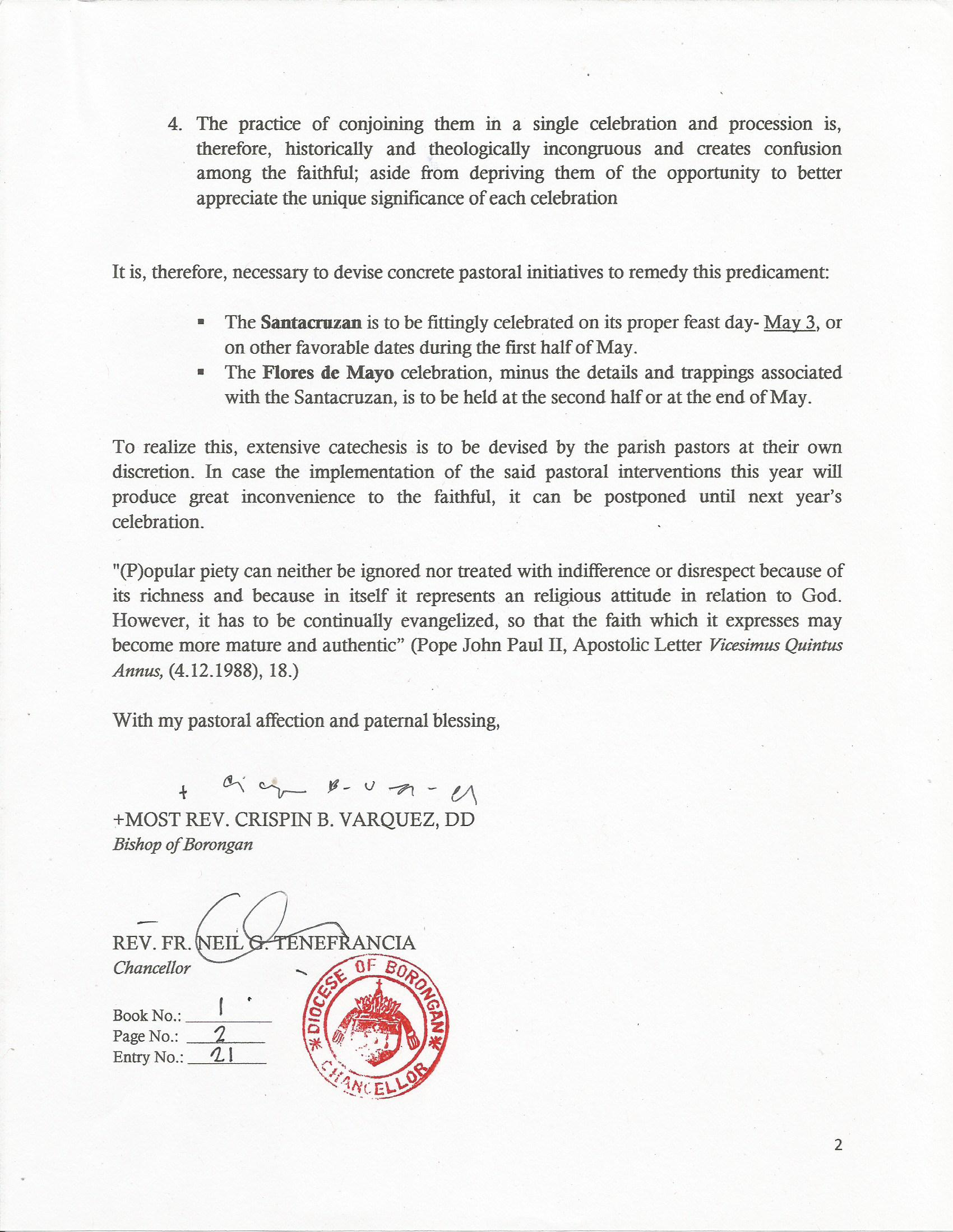 Circular letter on the santacruzan flores de mayo practices in the chancellor spiritdancerdesigns Images