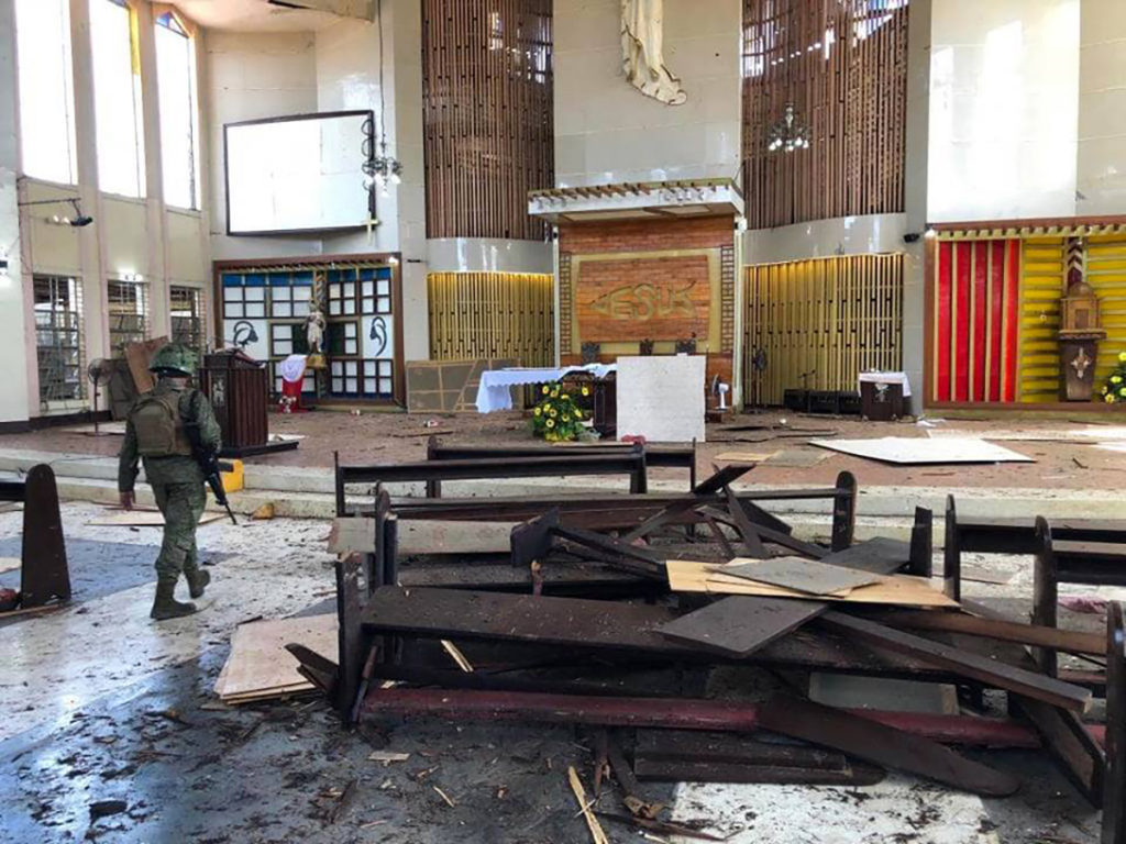 Several killed and dozens wounded in twin blasts at the Our Lady of Mount Carmel Cathedral in Jolo, Sulu on Sunday, Jan. 27. PHOTO COURTESY OF AFP WESTERN MINDANAO COMMAND
